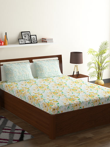 Bombay Dyeing Breeze 120 TC Cotton Double Bedsheet with 2 Pillow Covers-Yellow - SWHF