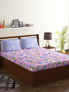 Bombay Dyeing Breeze 120 TC Cotton Double Bedsheet with 2 Pillow Covers-Levender - SWHF
