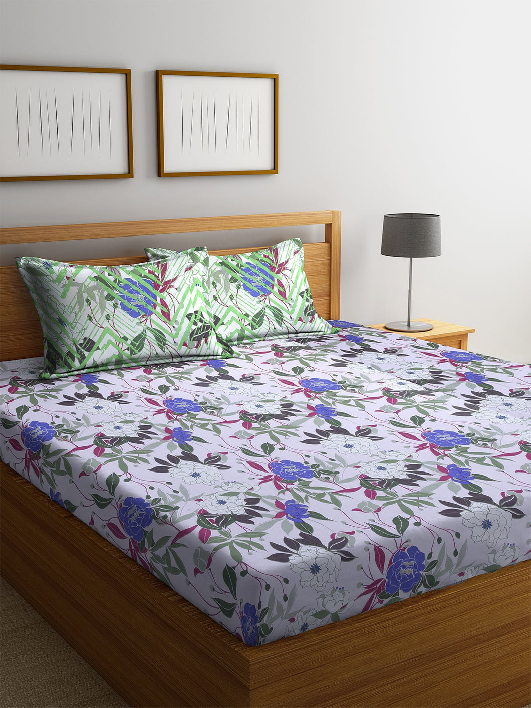 Bombay Dyeing Ivyrose 104 TC Cotton Double Bedsheet with 2 Pillow Covers - Violet - SWHF