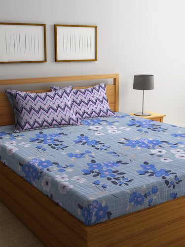 Bombay Dyeing Ivyrose 104 TC Cotton Double Bedsheet with 2 Pillow Covers - Blue - SWHF