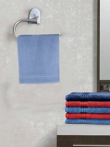 EuroSpa Premium Cotton 370 GSM  Classic Hand Towels Set of 2 : Blue