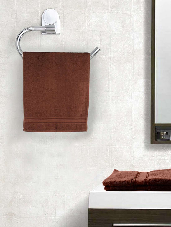 EuroSpa Premium Cotton 370 GSM  Classic Hand Towels Set of 2 : Brown - SWHF