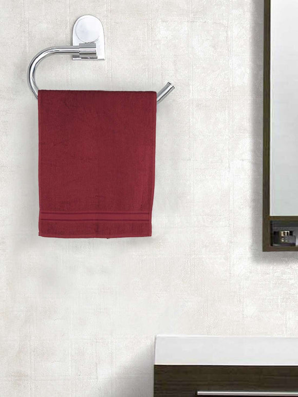 EuroSpa Premium Cotton 370 GSM  Classic Hand Towels Set of 2 : Maroon - SWHF
