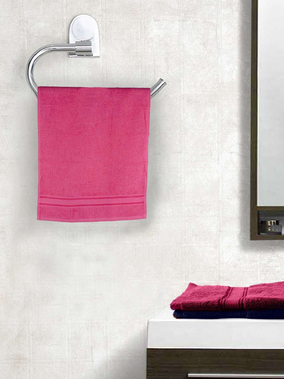 EuroSpa Premium Cotton 370 GSM  Classic Hand Towels Set of 2 : Pink - SWHF