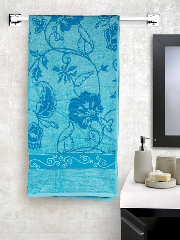 EuroSpa Premium Cotton 350 GSM Marvel bath towel : Blue - SWHF