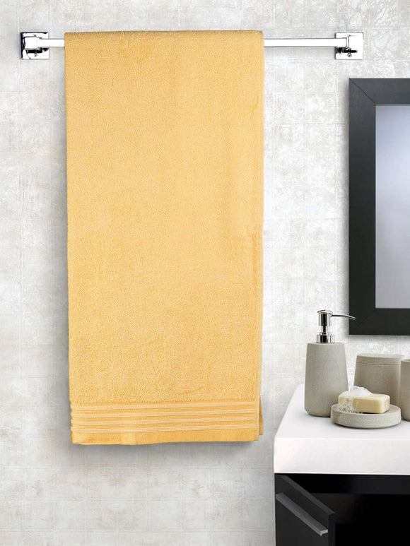 EuroSpa Premium Cotton 370 GSM Smile bath towel : Yellow - SWHF