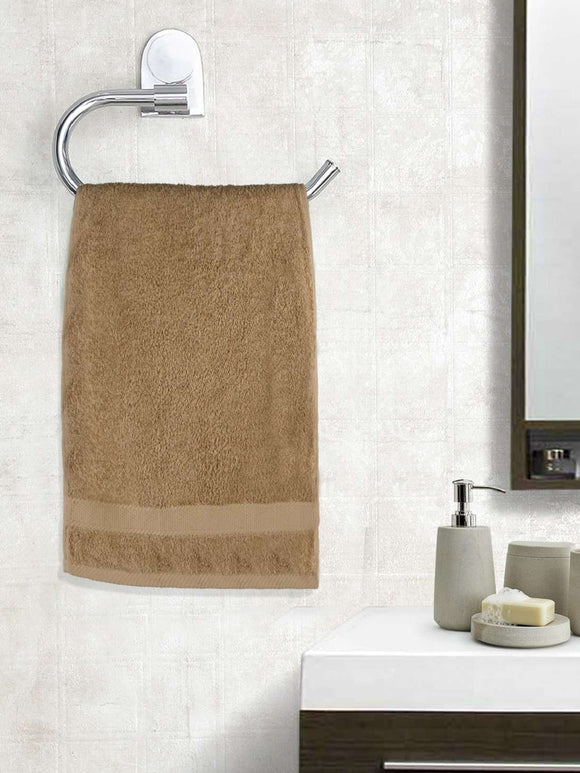 EuroSpa Premium Cotton 450 GSM Supreme Hand towels Set of 2 : Brown - SWHF