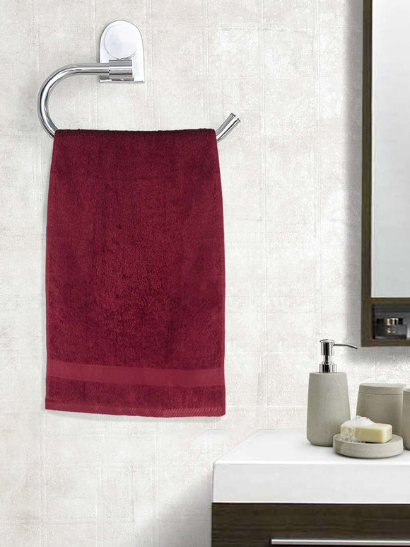 EuroSpa Premium Cotton 450 GSM Supreme Hand towels Set of 2 : Maroon - SWHF