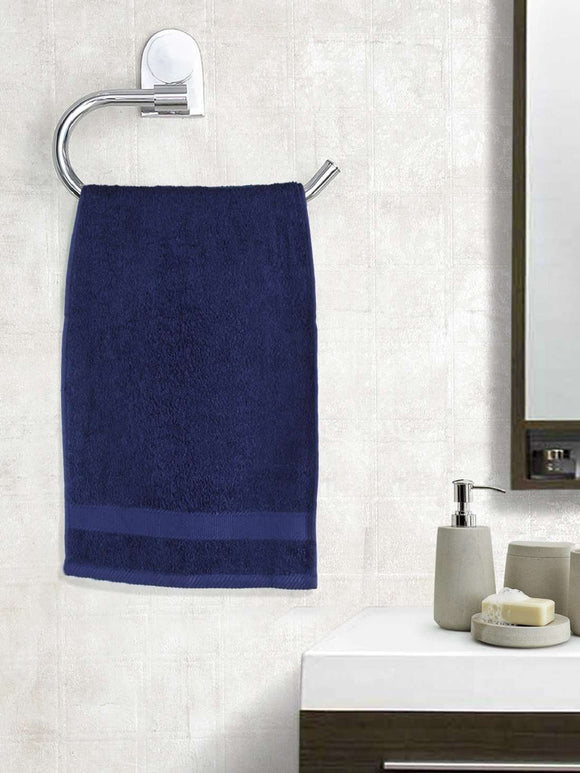 EuroSpa Premium Cotton 450 GSM Supreme Hand towels Set of 2 : Navy Blue - SWHF