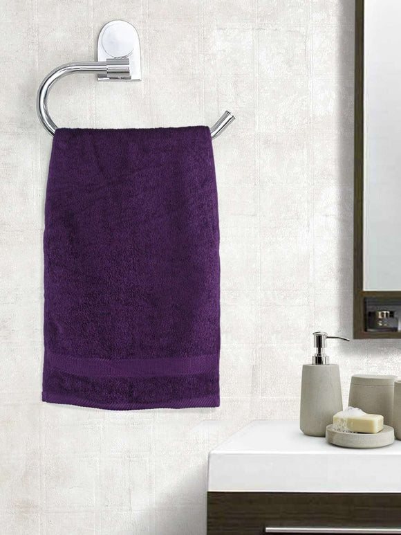 EuroSpa Premium Cotton 450 GSM Supreme Hand towels Set of 2 : Purple