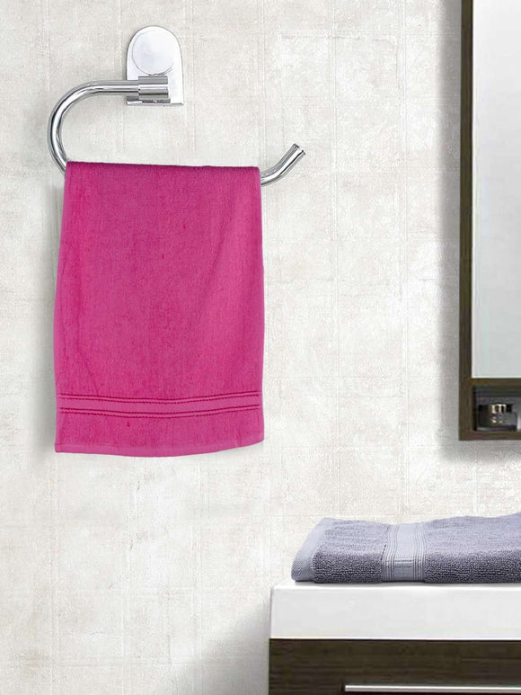 EuroSpa Premium Cotton 370 GSM Elegance Hand towels Set of 2 : Dark Pink - SWHF