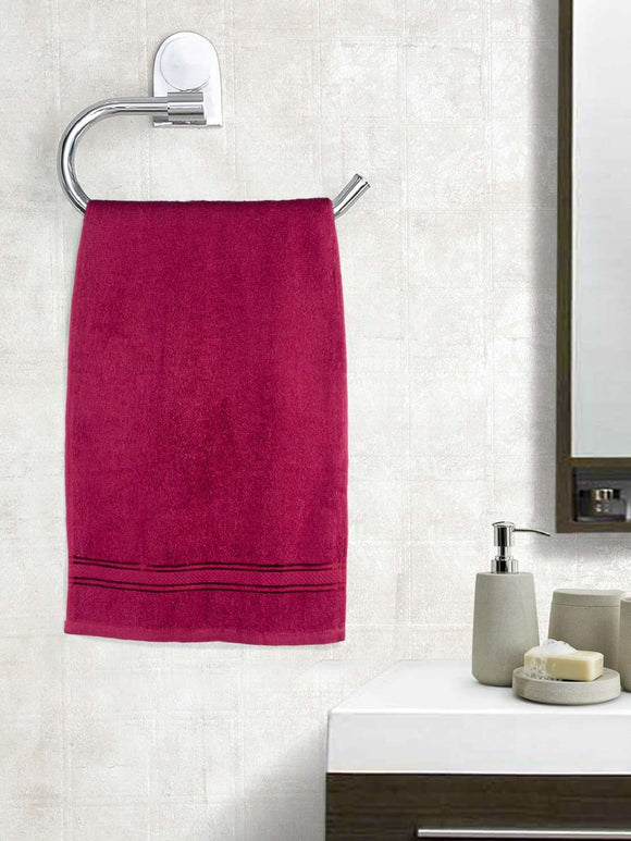 EuroSpa Premium Cotton 370 GSM Elegance Hand towels Set of 2 : Maroon - SWHF