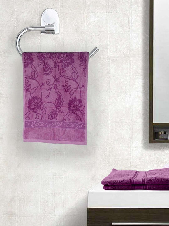 EuroSpa Premium Cotton 410 GSM Marvel Hand towels Set of 2 : Purple - SWHF