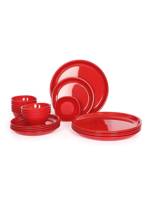 Gluman 24 Piece Dinner Set: Red - SWHF