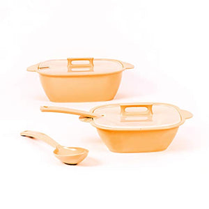 Gluman Square Microwave Safe Serving Bowl Set of 2 with Lid and Spoon