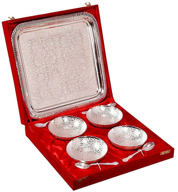 SWHF Silver Plated Bowl Set, Tray and Spoon Set of 4 - SWHF
