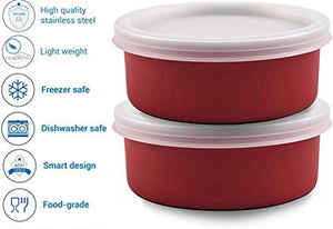 SWHF Microwave Safe Stainless Steel Tiffin/Lunch Box Set,Red (Pack of 2) - SWHF