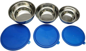 SWHF Stainless Steel Food Storage Airtight & Leak Proof Containers Set (Pack of 3) (Blue)… - SWHF