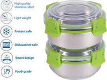 Load image into Gallery viewer, SWHF Stainless Steel Smart Lock Tiffin/Lunch Box (300 ml, 10 cm, Green) - SWHF