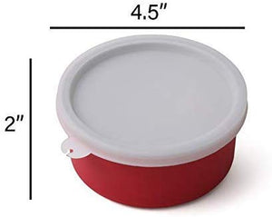 SWHF Microwave Safe Stainless Steel Tiffin/Lunch Box Set,Red (Pack of 4) - SWHF