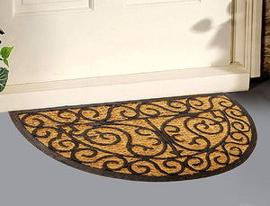 SWHF Premium Coir and Rubber Quirky Design Door and Floor Mat (70X40 Cm CM, Semi Circle) - SWHF
