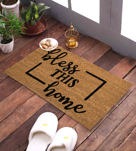 SWHF Coir Door Mat with Anti Skid Rubberized Backing:Brown (Bless This Home) - SWHF