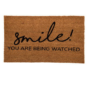 SWHF Coir Door Mat with Anti Skid Rubberized Backing:Brown (Smile ! You are Being Watched) - SWHF