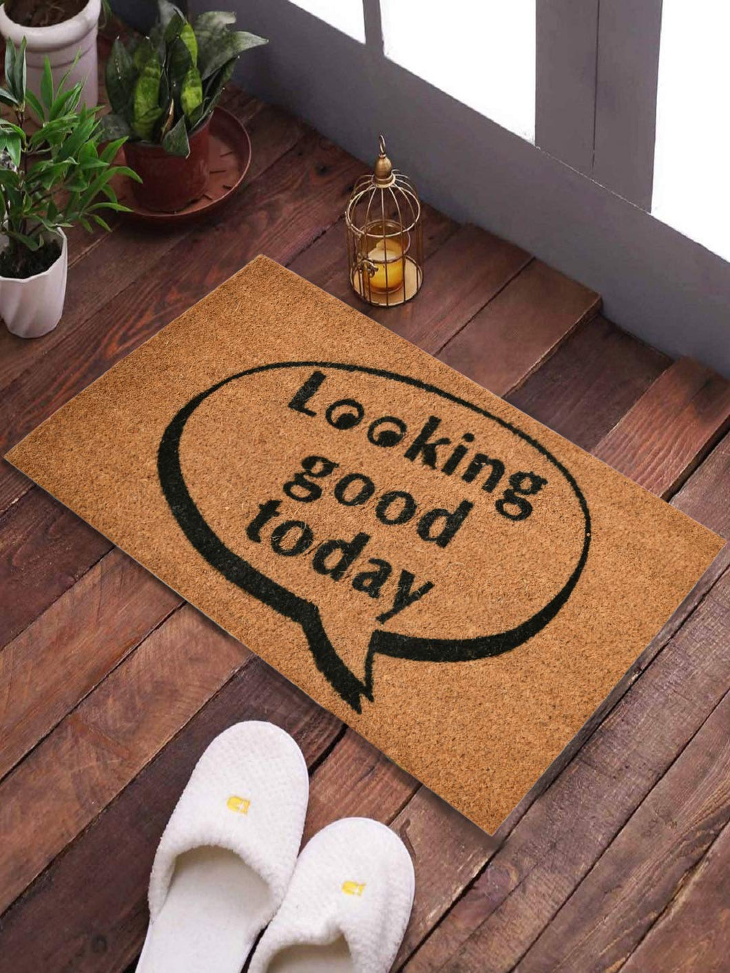 <h4>SWHF Coir Door Mat with Anti Skid Rubberized Backing: (Looking Good Today)</h3>