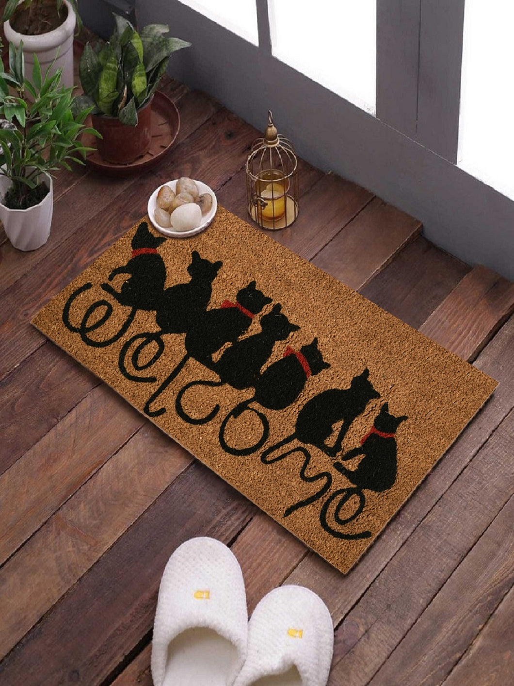<h4>SWHF Coir Door Mat with Anti Skid Rubberized Backing: (CAT Welcome)</h4>