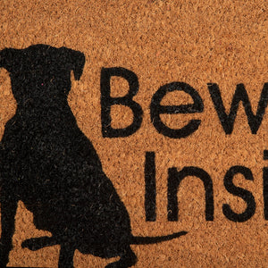 SWHF Coir Door Mat with Anti Skid Rubberized Backing: Multi (Beware ! Inside) - SWHF