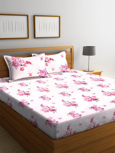 <h4>SWHF Chic Home Premium Cotton180 TC Printed Double Bedsheet with Two Pillow Cover (Pink)</h4>
