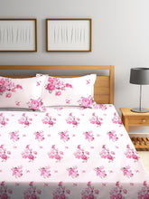 Load image into Gallery viewer, <h4>SWHF Chic Home Premium Cotton180 TC Printed Double Bedsheet with Two Pillow Cover (Pink)</h4>