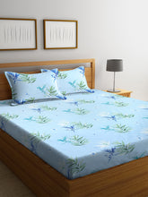 Load image into Gallery viewer, <h4>SWHF Chic Home Premium Cotton180 TC Printed Double Bedsheet with Two Pillow Cover (Turquoise)</h4>