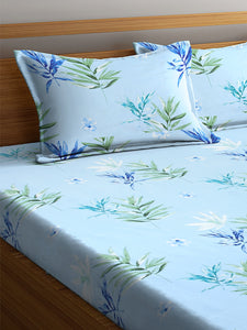 <h4>SWHF Chic Home Premium Cotton180 TC Printed Double Bedsheet with Two Pillow Cover (Turquoise)</h4>