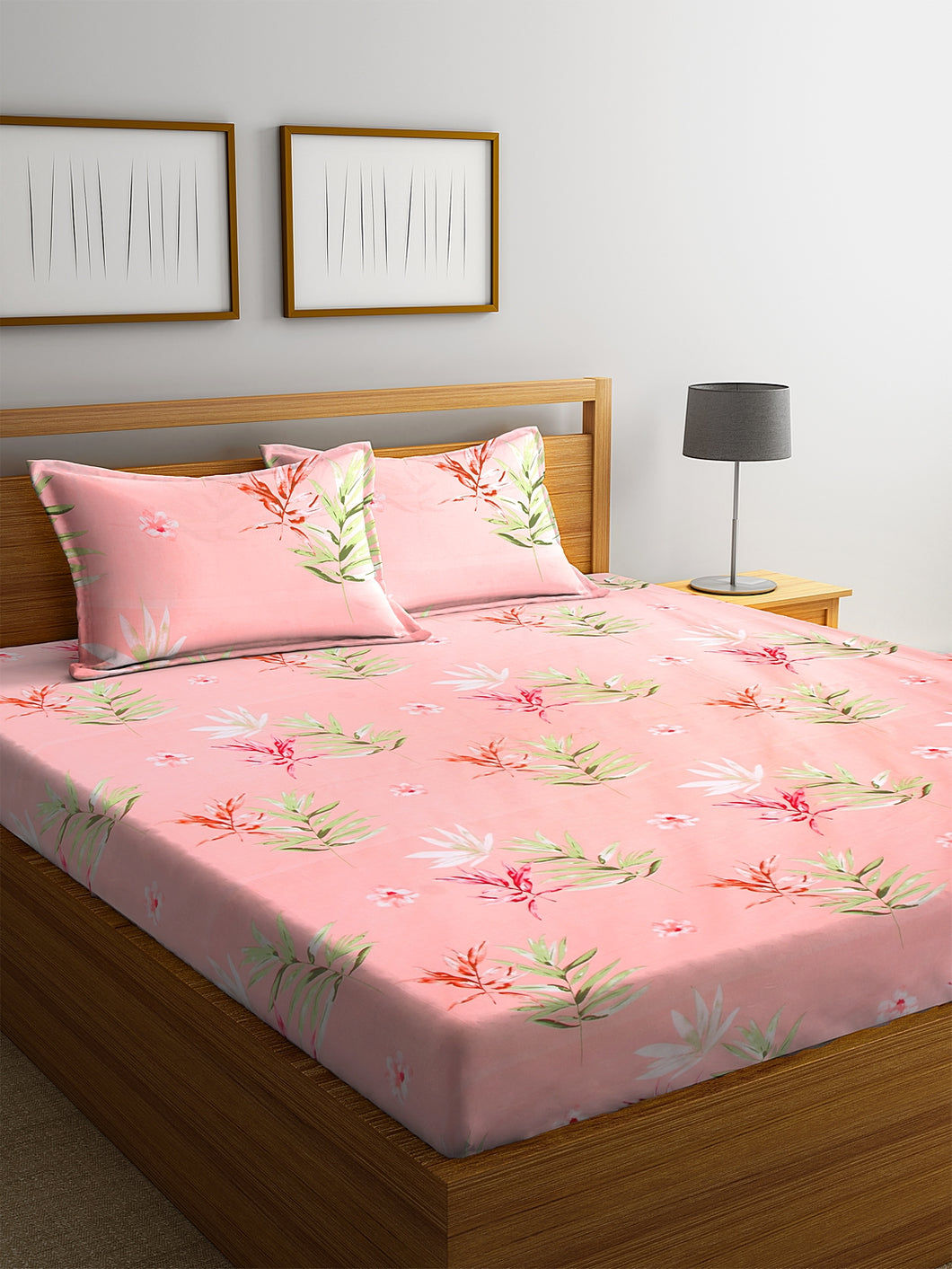 <h4>SWHF Chic Home Premium Cotton180 TC Printed Double Bedsheet with Two Pillow Cover (Orange)</h4>
