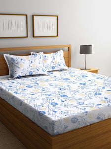 <h4>SWHF Chic Home Premium Cotton180 TC Printed Double Bedsheet with Two Pillow Cover (Blue)</h4>