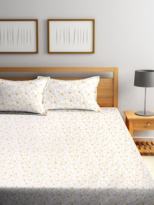 <h4>SWHF Chic Home Premium Cotton180 TC Printed Double Bedsheet with Two Pillow Cover (Yellow)</h4>
