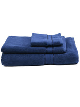 Load image into Gallery viewer, SWHF Chic Home Casual Bath, Hand and Washcloth Terry Navy Blue Towel- Set of 3