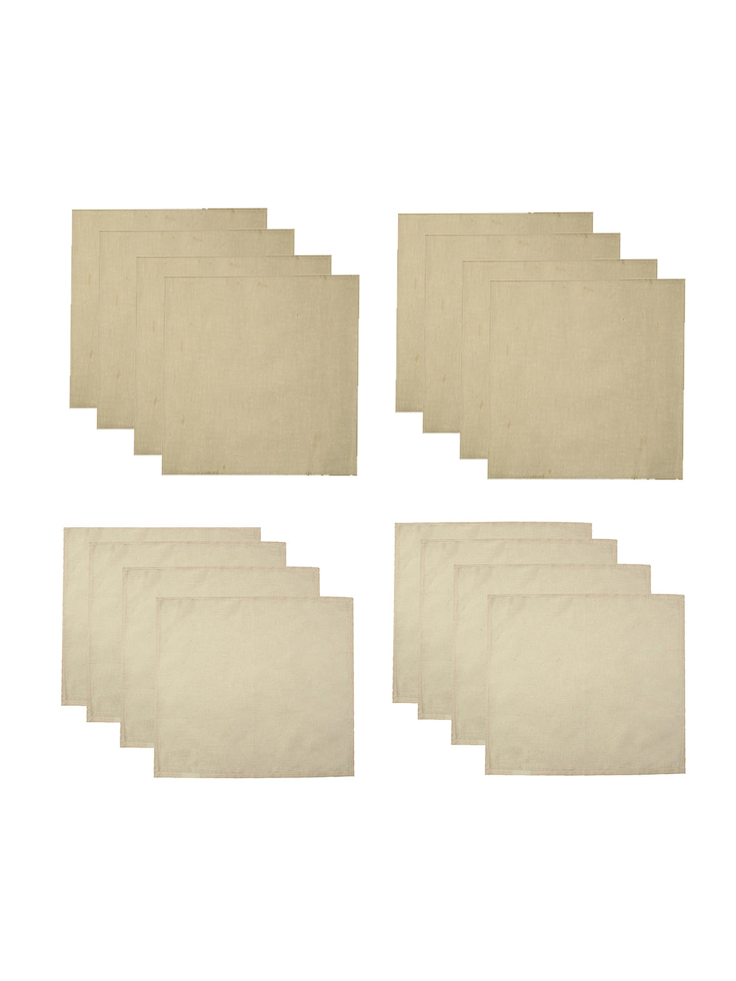 SWHF Chic Home Pure Beige 8 Large Dinner Linen  Napkins and 8 Small Linen Cocktail Napkins