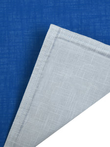 SWHF Chic Home Pure Blue & Grey Linen Reversible Table Linen Set: 4 Tablemats/Placemats, 1 Table Runner with 8 Large Dinner Napkins and 8 Small Cocktail Napkin