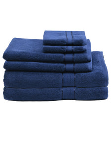 SWHF Chic Home Casual Bath, Hand and Washcloth Terry Navy Blue Towel- Set of 6
