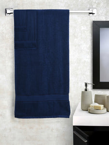 SWHF Chic Home Casual Bath, Hand and Washcloth Terry Navy Blue Towel- Set of 3
