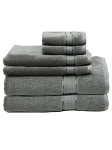 SWHF Chic Home Casual Bath, Hand and Washcloth Terry Grey Towel- Set of 6