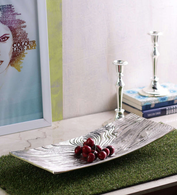 SWHF Pure White Metal Serving and Decorative Tray - SWHF