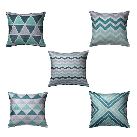SWHF Velvet Printed Cushion Cover, Set of 5:Green - SWHF