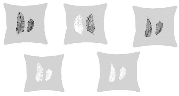 SWHF Velvet Printed Cushion Cover, Set of 5:Grey - SWHF