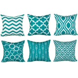SWHF Velvet Printed Cushion Cover, Set of 6:Lime Green