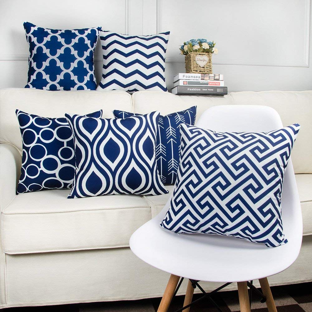 SWHF Soft Decorative Printed Velvet Cushion Cover Set of 6 (16 inch x 16 inch or 40 cm x 40 cm): Navy Blue