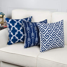 Load image into Gallery viewer, SWHF Velvet Printed Cushion Cover, Set of 6:Navy Blue - SWHF