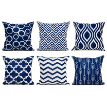 Load image into Gallery viewer, SWHF Soft Decorative Printed Velvet Cushion Cover Set of 6 (16 inch x 16 inch or 40 cm x 40 cm): Navy Blue